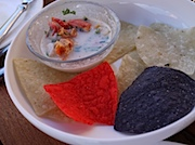 Telluride: 9545の9545 Ceviche with Poblano Lime Coconut Dressing and Crisp Tortilla Chips