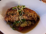 Telluride: 9545のPan Seared Salmon with Senora Cactus Tapenade, Melted Tomatillo Broth and Grilled Cilantro Garlic Polenta